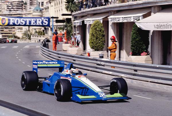 1990 Monaco Grand Prix.Monte Carlo, Monaco.24-27 May 1990.J J. Lehto (Onyx ORE-2 Ford) at Massenet.Ref-90 MON 42.World Copyright - LAT Photographic