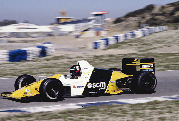 1990 Spanish Grand Prix.Jerez, Spain.28-30 September 1990.Paolo Barilla (Minardi M190 Ford).Ref-90 ESP 50.World Copyright - LAT Photographic