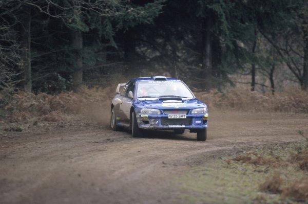 2000 World Rally Championship.Rally GB, Great Britain. 23-26 November 2000.Richard Burns/Robert Reid (Subaru Impreza WRC), 1st position.World Copyright: LAT PhotographicRef: 35mm transparency 2000RALLY13