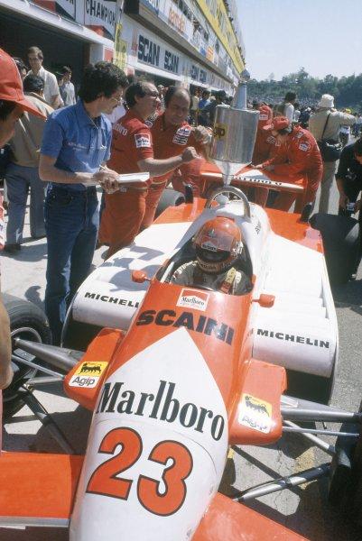 1981 San Marino Grand Prix.Imola, Italy. 1-3 May 1981.Bruno Giacomelli (Alfa Romeo 179C), retired.World Copyright: LAT PhotographicRef: 35mm transparency 81SM15