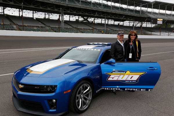 25  May, 2013, Indianapolis, Indiana, USA Parnelli Jones gives a pace car ride to Sarah Palin © 2013, Michael L. Levitt LAT Photo USA.