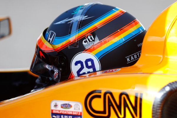 Verizon IndyCar Series Indianapolis 500 Carb Day Indianapolis Motor Speedway, Indianapolis, IN USA Friday 26 May 2017 Fernando Alonso, McLaren-Honda-Andretti Honda. World Copyright: Steven Tee/LAT Images ref: Digital Image _R3I6065
