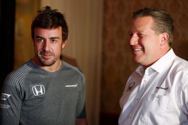 Bahrain International Circuit, Sakhir, Bahrain.  Wednesday 12 April 2017. Fernando Alonso and Zak Brown, Executive Director, McLaren Technology Group, announce Fernando's deal to race in the 2017 Indianapolis 500 in an Andretti Autosport run McLaren Honda car. World Copyright: Glenn Dunbar/LAT Images ref: Digital Image _31I6841