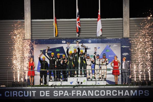 2017 FIA World Endurance Championship. Spa-Francorchamps, Belgium, 4th-6th May 2017. GT AM Podium - #98 Aston Martin Racing Aston Martin Vantage: Paul Dalla Lana, Pedro Lamy, Mathias Lauda win World Copyright: JEP/LAT Images