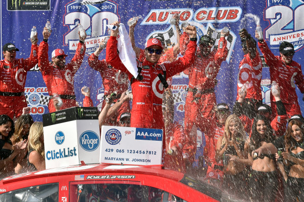 2017 Monster Energy NASCAR Cup Series Auto Club 400 Auto Club Speedway, Fontana, CA USA Sunday 26 March 2017 Kyle Larson celebrates his win in Victory Lane World Copyright: Rusty Jarrett/LAT Images ref: Digital Image _RJ46228