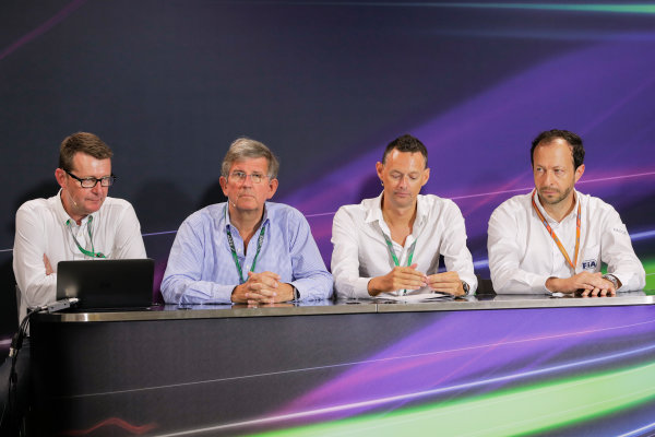 Monte Carlo, Monaco. Friday 26 May 2017. Ian Burrows, Nigel Geach, Charles Bradley and Peter Bayer, FIA Secretary General for Motor Sport at the F1 Motorsport Network Global Fan Survey Press Conference. World Copyright: Zak Mauger/LAT Images ref: Digital Image _56I6636