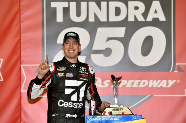 NASCAR Camping World Truck Series Toyota Tundra 250 Kansas Speedway, Kansas City, KS USA Friday 12 May 2017 Kyle Busch, Cessna Toyota Tundra celebrates his win in Victory Lane World Copyright: Nigel Kinrade LAT Images ref: Digital Image 17KAN1nk07224