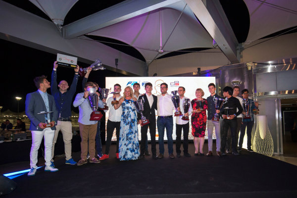 2017 Awards Evening. Yas Marina Circuit, Abu Dhabi, United Arab Emirates. Sunday 26 November 2017. Award winners on stage. Photo: Zak Mauger/FIA Formula 2/GP3 Series. ref: Digital Image _X0W0216