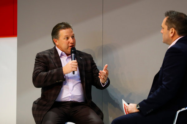 Autosport International Exhibition. National Exhibition Centre, Birmingham, UK. Thursday 11th January 2017. Zak Browb, is interviewed by Henry Hope-Frost, on the Autosport Stage.World Copyright: Ashleigh Hartwell/LAT Images Ref: _R3I6604