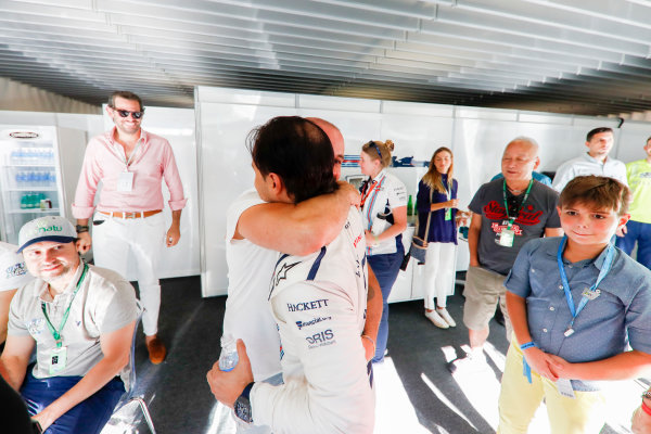 Interlagos, Sao Paulo, Brazil. Sunday 12 November 2017. Felipe Massa, Williams Martini Racing, celebrates his final home grand prix with family and friends. World Copyright: Glenn Dunbar/LAT Images  ref: Digital Image _X4I4038
