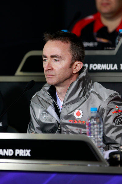 Shanghai International Circuit, Shanghai, China13th April 2012Paddy Lowe, Technical Director, McLaren, in the Friday Press Conference. World Copyright:Andrew Ferraro/LAT Photographicref: Digital Image _Q0C2607