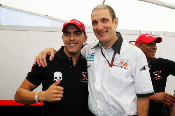 Pastor Maldonado (VEN) Rapax celebrates his GP2 Championship with Bruno Michel (FRA) GP2 Series CEO.
