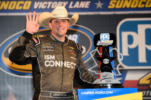 #21: Johnny Sauter, GMS Racing, Chevrolet Silverado ISM Connect, celebrates after winning in Texas.