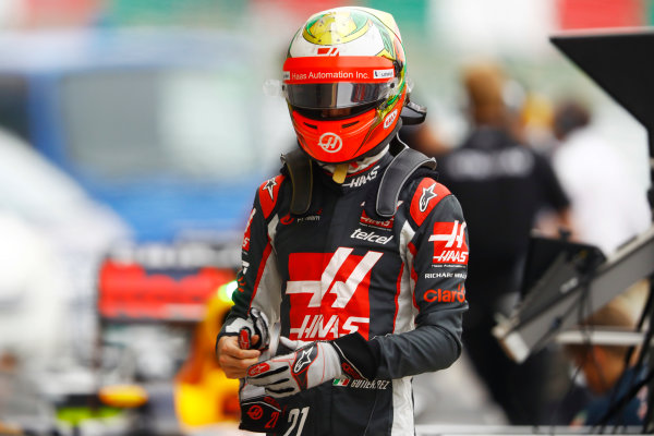 Suzuka Circuit, Japan. Saturday 8 October 2016. Esteban Gutierrez, Haas F1, in Parc Ferme after Qualifying. World Copyright: Tee/LAT Photographic ref: Digital Image _O3I6232