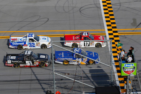 17-18 October, 2014, Talladega, Alabama USA Timothy Peters and Ryan Blaney restart ? 2014, Russell LaBounty LAT Photo USA