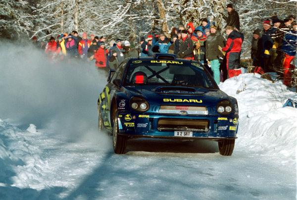 2001 World Rally Championship.   Swedish Rally. 9th - 11th February 2001. Rd 2. Richard Burns in action in the Subaru Impreza WRC, Leg one. World Copyright: Ralph Hardwick/ LAT Photographic. Ref: Burns_Leg_1