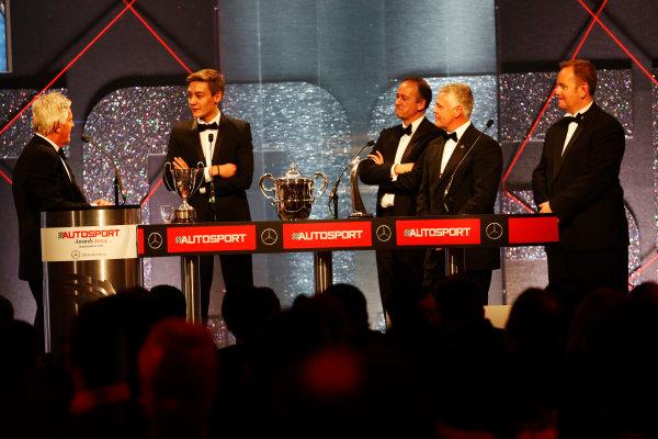 2014 Autosport Awards. Grosvenor House Hotel, Park Lane, London. Sunday 7 December 2014. George Russell wins the 2014 McLaren AUTOSPORT BRDC Award. World Copyright: Alastair Staley/LAT Photographic. ref: Digital Image _R6T9824