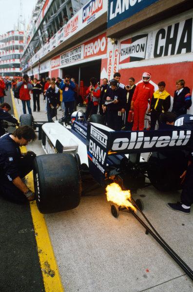 Imola, Italy.25-27 April 1986.Elio de Angelis (Brabham BT55 BMW), retired, pit stop, action. World Copyright: LAT Photographic.Ref:  86SM06.