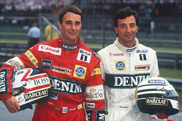 Jacarepagua, Rio de Janeiro, Brazil.1-3 April 1988.Nigel Mansell (Williams FW12-Judd), retired, and team mate Riccardo Patrese (Williams FW12-Judd), retired, helmet, portrait. World Copyright: LAT Photographic. Ref: 88BRA54