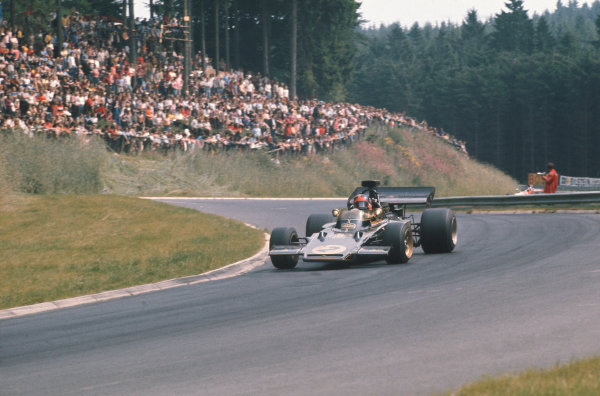 1972 German Grand Prix.  Nurburgring, Germany. 28-30th July 1972.  Emerson Fittipaldi, Lotus 72D Ford, retired.  Ref: 72GER02. World Copyright: LAT Photographic