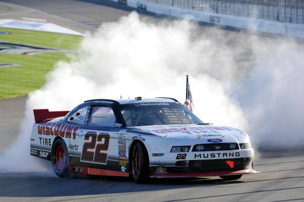 7-8 March, 2014, Las Vegas, Nevada USA Brad Keselowski celebrates his win with a burnout © 2014, Nigel Kinrade LAT Photo USA