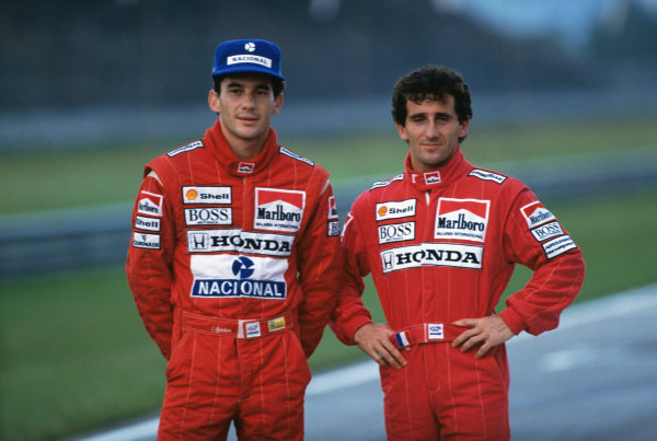1989 Formula 1 World Championship. Ayrton Senna (Mclaren MP4/5-Honda) and team mate and arch rival, Alain Prost (Mclaren MP4/5-Honda), portrait. World Copyright: LAT Photographic Ref: 89F1 Senna_Prost 01.