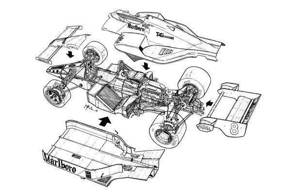 McLaren MP4-2 1984 exploded-detail overview