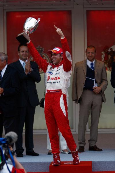 Saturday Race. 23rd May 2009. Pastor Maldonado (VEN, ART Grand Prix) celebrates his victory on the podium. World Copyright: Andrew Ferraro / GP2 Series Media Service.Ref: _H0Y0274 jpg