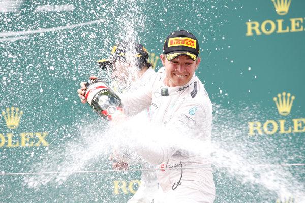 Red Bull Ring, Spielberg, Austria. Sunday 21 June 2015. Nico Rosberg, Mercedes AMG, 1st Position, sprays the victory Champagne. World Copyright: Glenn Dunbar/LAT Photographic. ref: Digital Image _89P5765