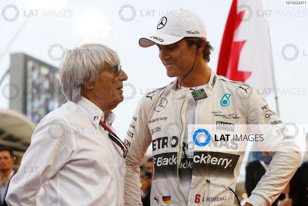 Bahrain International Circuit, Sakhir, Bahrain. Sunday 19 April 2015. Bernie Ecclestone, CEO and President, FOM, with Nico Rosberg, Mercedes AMG. World Copyright: Steven Tee/LAT Photographic. ref: Digital Image _L4R0908