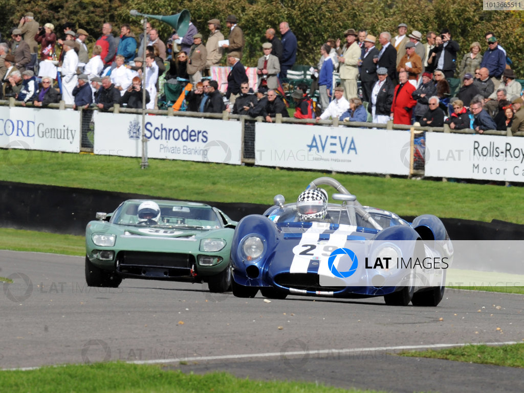 Goodwood Estate, West Sussex, 15th - 18th September 2011 Whitsun Trophy Keith AHLERS, Cooper-Ford T61 'Monaco' leads Andrew NEWALL, Ford GT40 Roadster. World Copyright:Jeff Bloxham/LAT Photographic Ref: Digital Image