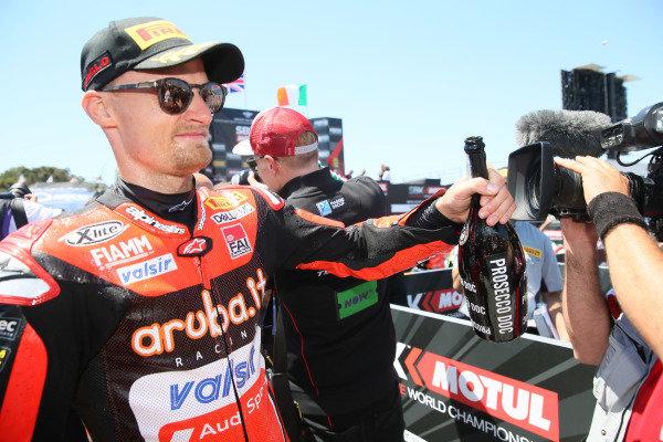 Chaz Davies, Aruba.it Racing-Ducati SBK Team celebration