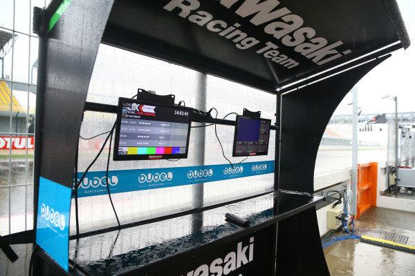 Kawasaki Racing pit gantry.