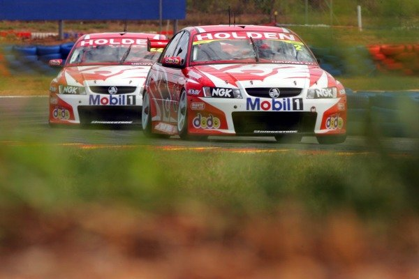 Mark Skaife (AUS), Holden Commodore, leads team mate Todd Kelly (AUS), Holden Commodore.