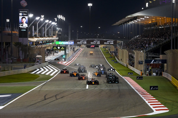 Max Verstappen, Red Bull Racing RB16B leads Sir Lewis Hamilton, Mercedes W12, Valtteri Bottas, Mercedes W12 and Charles Leclerc, Ferrari SF21 at the start of the race