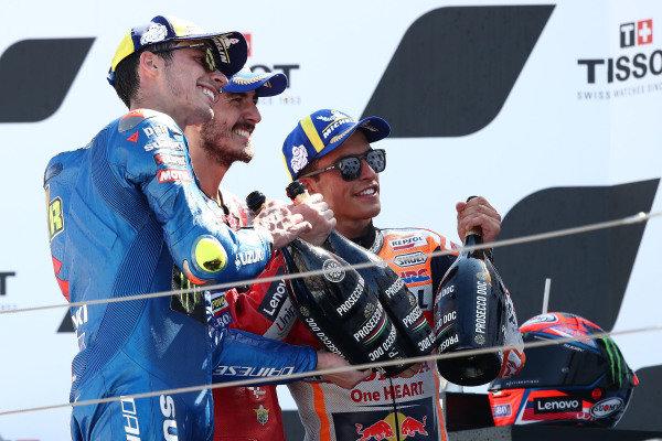Joan Mir, Team Suzuki MotoGP Francesco Bagnaia, Ducati Team, Marc Marquez, Repsol Honda Team.
