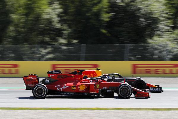 Sebastian Vettel, Ferrari SF90 and Pierre Gasly, Red Bull Racing RB15