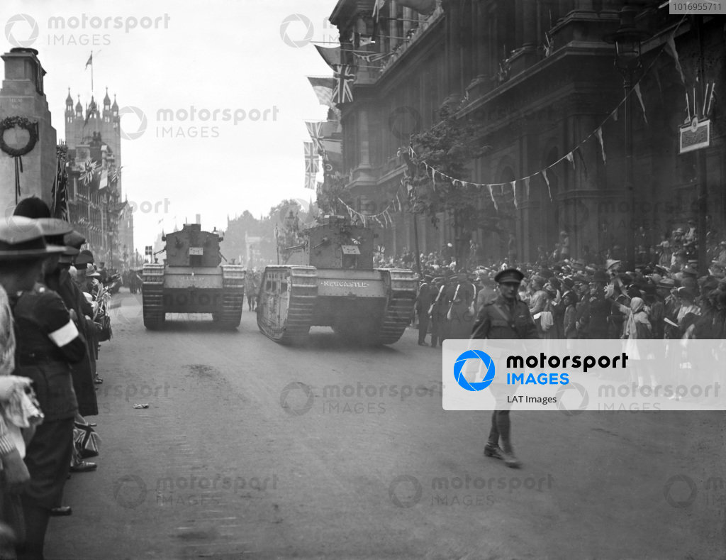 Tanks are paraded past the Cenotaph in Whitehall, London, during Peace Day celebrations.
