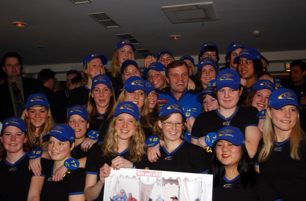 2002 World Rally ChampionshipUddeholm Swedish Rally, 1st-3rd February 2002.Tommi Makinen celebrates his record 24 WRC victories with 24 girls at the rally welcolm party.Photo: Ralph Hardwick/LAT