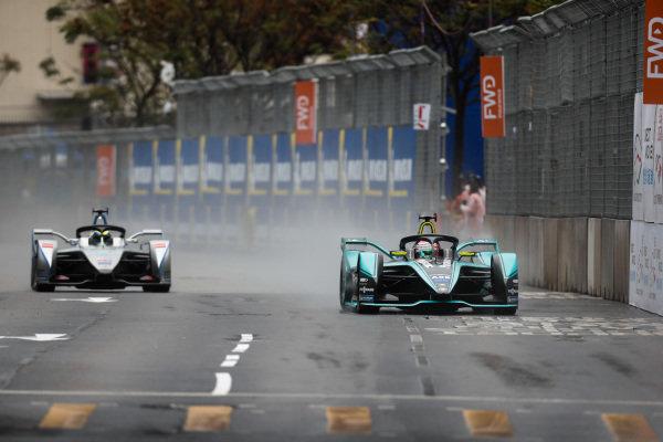 Nelson Piquet Jr. (BRA), Panasonic Jaguar Racing, Jaguar I-Type 3 leads Felipe Massa (BRA), Venturi Formula E, Venturi VFE05