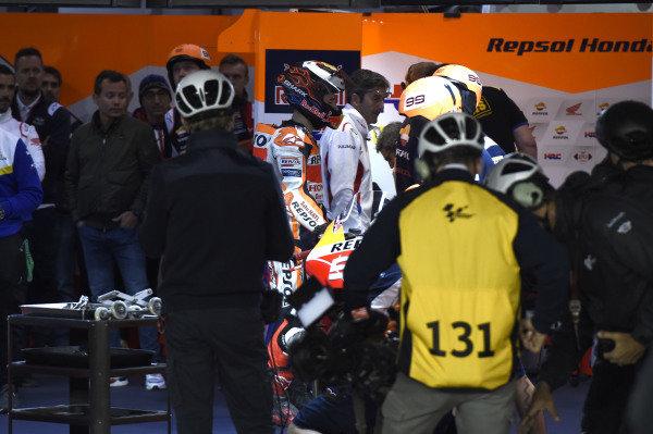 Jorge Lorenzo, Repsol Honda Team after crash.