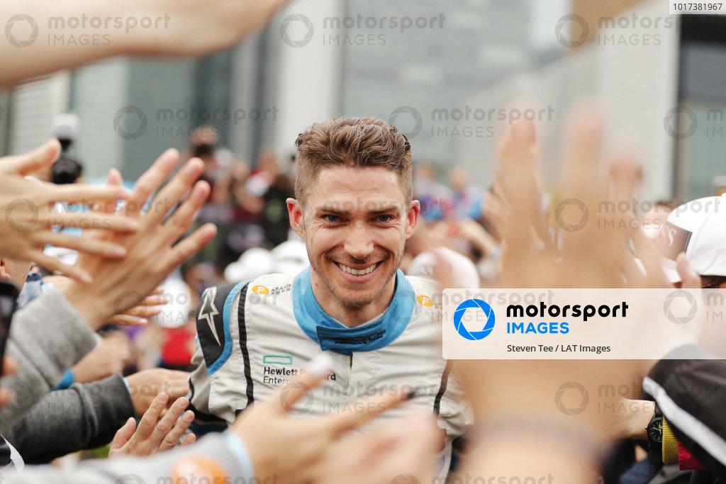 Edoardo Mortara (CHE) Venturi Formula E, celebrates at the podium