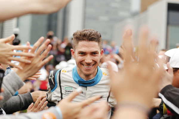 Edoardo Mortara (CHE) Venturi Formula E, celebrates at the podium
