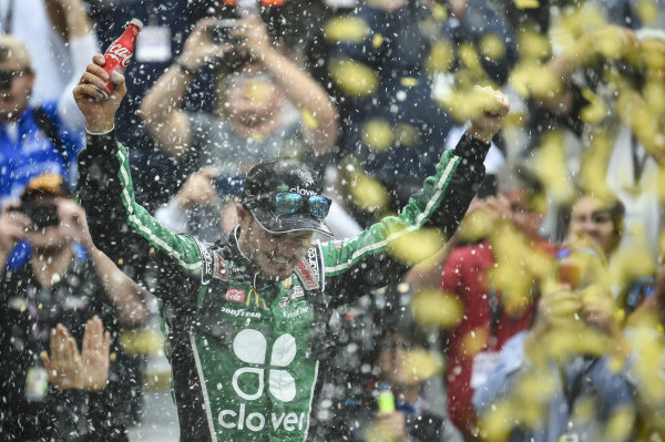 #42: Kyle Larson, Chip Ganassi Racing, Chevrolet Camaro Clover, celebrates after winning.