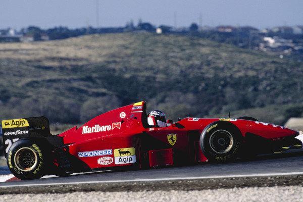 1994 Portuguese Grand Prix.Estoril, Portugal. 23-25 September 1994.Jean Alesi (Ferrari 412T1B).Ref-94 POR 12.World Copyright - LAT Photographic