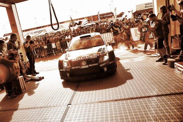 Race winner Andreas Mikkelsen (NOR) / Ola Floene (NOR) Volkswagen Polo R WRC at FIA World Rally Championship, Rd12, RAAC Rally de Espana, Day Three, Costa Daurada, Catalunya, Spain, 25 October 2015.