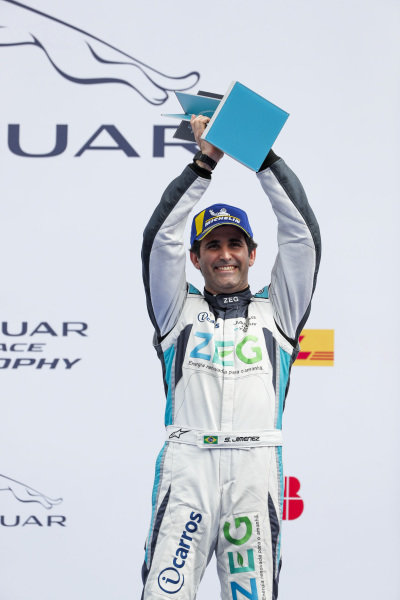 Sérgio Jimenez (BRA), Jaguar Brazil Racing, 2nd position, celebrates on the podium