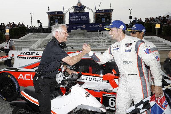 #6 Acura Team Penske Acura DPi, DPi: Juan Pablo Montoya, Dane Cameron, podium, Bud Denker