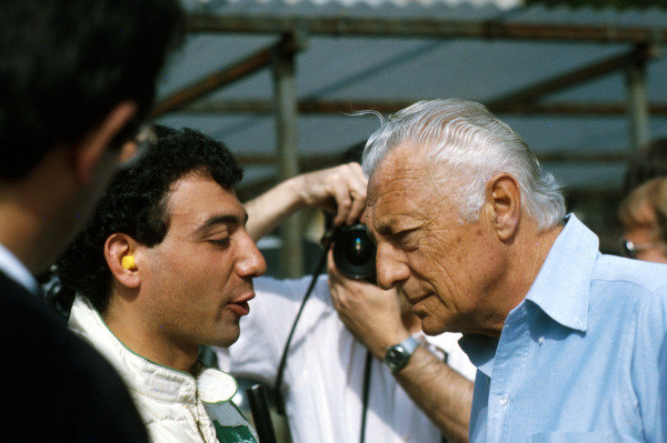 Gianni Agnelli 1922 - 2003 Gianni Agnelli, here seen at a 1984 Monaco Grand Prix with Michele Alboreto. World Copyright: Photo4/LAT Photographic ref: Digital Image Only