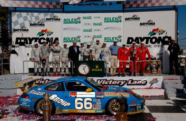 2003 Daytona/Rolex 24 Grand Am, Daytona International Speedway, Daytona Beach, Florida, USAJan./Feb. 2003The overall top three finishing teams. Racers group Porsche, Risi Competizione-Ferrari and Rennwerks Porsche.C: 2003, Douglas Phillips, USALAT Photographic